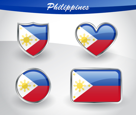 Glossy Philippines flag icon set with shield, heart, circle and rectangle shapes in silver frame. Vector illustration.