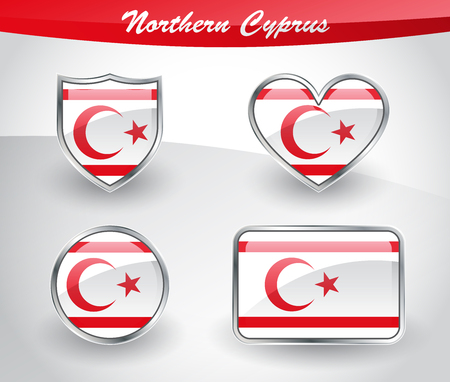 shiny buttons: Glossy World flag icon set with shield, heart, circle and rectangle shapes in silver frame. Vector illustration. Illustration
