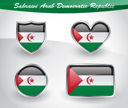 sahrawi arab democratic republic: Glossy Sahrawi Arab Democratic Republic flag icon set with shield, heart, circle and rectangle shapes in silver frame. Vector illustration.