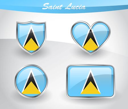 Glossy Saint Lucia flag icon set with shield, heart, circle and rectangle shapes in silver frame. Vector illustration.