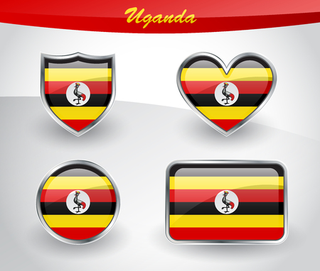 glassy: Glossy Uganda flag icon set with shield, heart, circle and rectangle shapes in silver frame. Vector illustration. Illustration