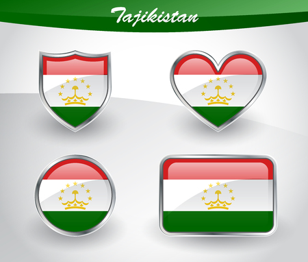 Glossy Tajikistan flag icon set with shield, heart, circle and rectangle shapes in silver frame. Vector illustration.