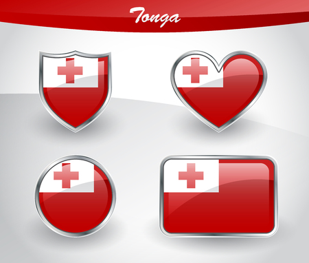 Glossy Tonga flag icon set with shield, heart, circle and rectangle shapes in silver frame. Vector illustration.