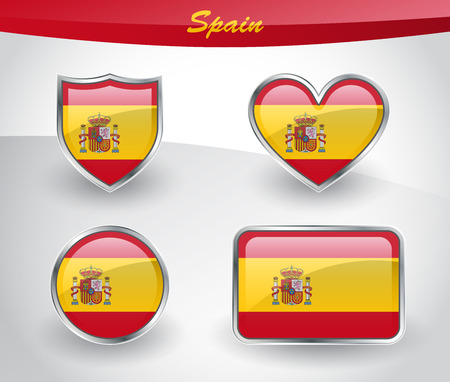 Glossy Spain flag icon set with shield, heart, circle and rectangle shapes in silver frame. Vector illustration.