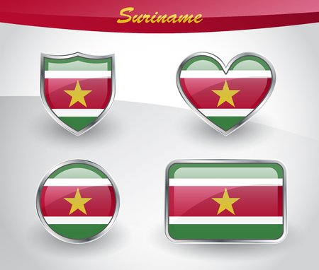 glassy: Glossy Suriname flag icon set with shield, heart, circle and rectangle shapes in silver frame. Vector illustration. Illustration