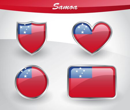 rectangle button: Glossy Samoa flag icon set with shield, heart, circle and rectangle shapes in silver frame. Vector illustration.