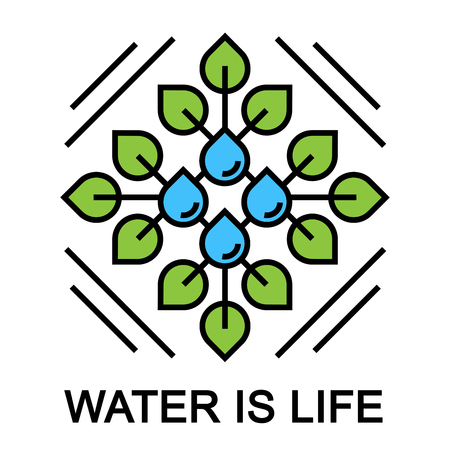 drops of water: Water is life abstract concept design with green plant leaf and blue water drop. Vector illustration.