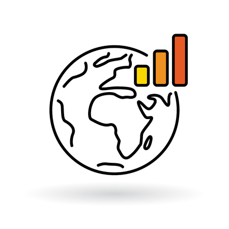 Simple world with global warming chart icon. Earth and climate change sign. Thin line icon on white background. Vector illustration. Illustration