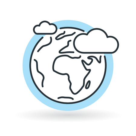 Simple earth with clouds and blue sky icon. World ozone layer sign. Thin line icon on white background. Vector illustration.