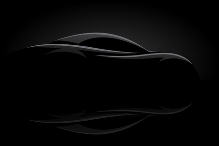 Concept sports car vehicle silhouette on black background. Vector illustration