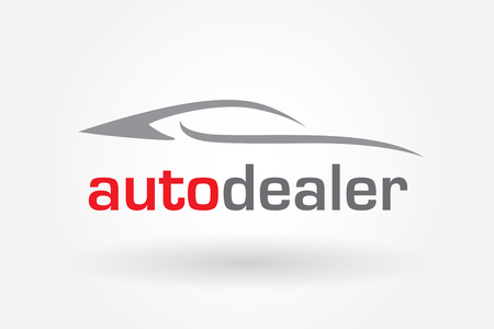 Automotive dealer concept icon design with sports car vehicle silhouette.