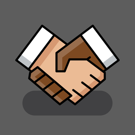 Abstract diverse businessman handshake icon. Flat line icon on grey background. Vector illustration.