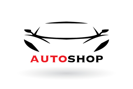 Automotive dealer concept icon design with sports car vehicle silhouette. Vector illustration Illustration