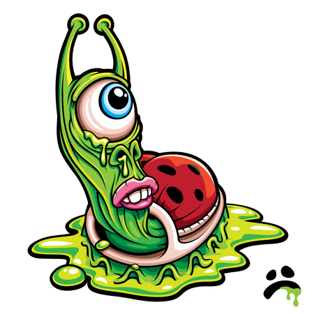 Sad one eyed green slug monster creature cartoon graphic vector illustration. Иллюстрация