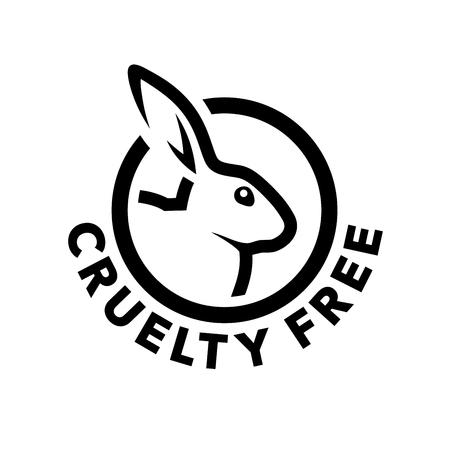 Progettazione dell'icona di concetto libero di crudeltà con il simbolo del coniglio. Non testato su emblema di animali. Illustrazione vettoriale