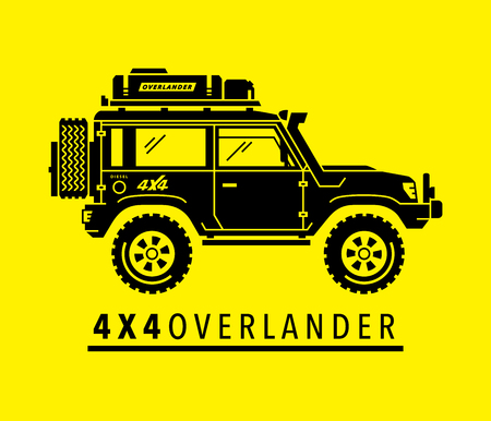 Extreme off-road 4x4 all-terrain suv vehicle. Overland adventure 4wd expedition sports utility safari vehicle. Black modified auto silhouette on yellow background. Vector illustration.