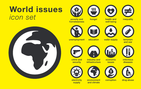 World issues icons set. Includes hunger, poverty, crime, unemployment, education, environment, economic, etc. Sustainability problems. Vector illustration.