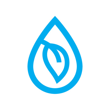 eco water icon. Blue plant leaf in water drop symbol isolated on white background. Vector illustration.