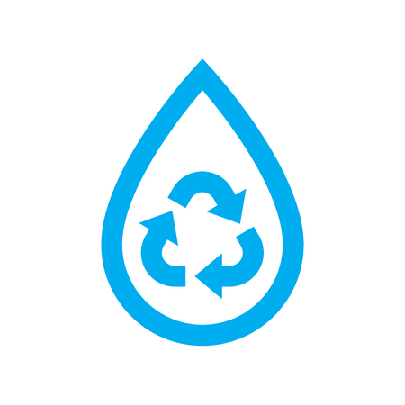 Save water icon. Blue recycle and reuse water drop symbol isolated on white background. Vector illustration. Illustration