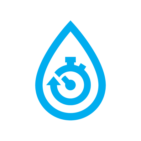 Limit water use icon. Blue stopwatch in water drop symbol isolated on white background. Vector illustration.