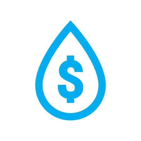 Water cost and save icon. Blue dollar symbol in water drop sign isolated on white background. Vector illustration.