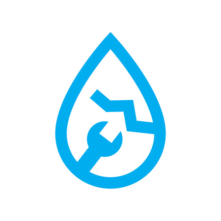 plumbing water leak repair icon. Blue spanner and crack in water drop symbol isolated on white background. Vector illustration.