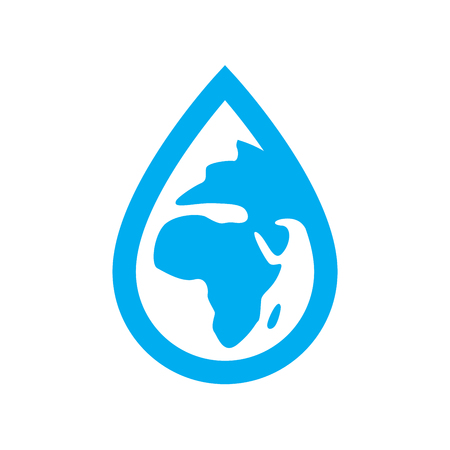 Environment water icon. Blue planet earth in water drop symbol isolated on white background. Vector illustration.