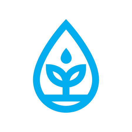 eco water icon. Blue plant grows in water drop symbol isolated on white background. Vector illustration. Illustration