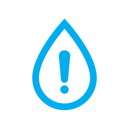 Water warning icon. Blue water drop with caution symbol isolated on white background. Vector illustration. Ilustração