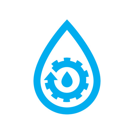 Water plumbing maintenance icon. Blue gear cog in water drop symbol isolated on white background. Vector illustration.