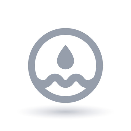 Water drop icon. Pure clean water nature symbol. Aqua sign in circle. Vector illustration.