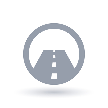 Paved straight road icon. Street symbol. Highway or motorway infrastructure sign in circle. Vector illustration. Illustration