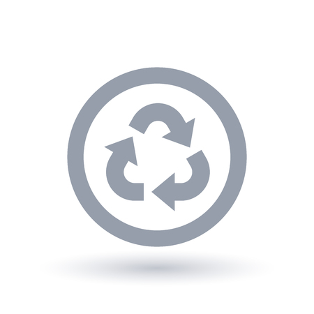 Recycle icon in circle. Sustainable waste reuse sign. Environment conservation symbol. Vector illustration.