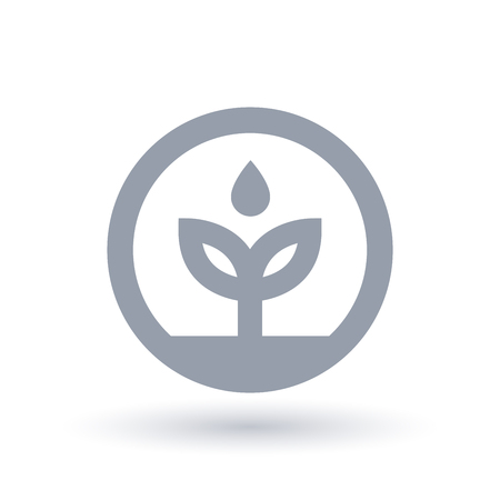 Water environment icon. Plant leaf with water drop symbol. Eco friendly sign in circle. Vector illustration.