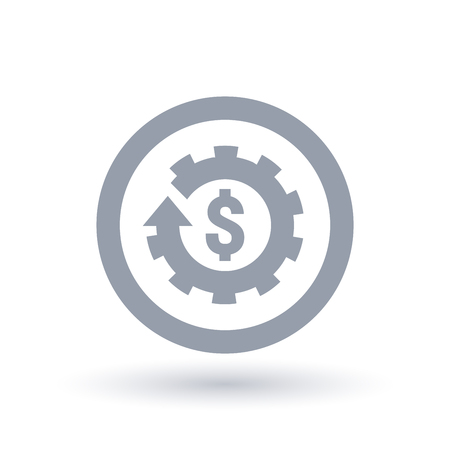 American Dollar sign and cog gear icon in circle. Economy symbol. Currency commerce sign. Vector illustration.