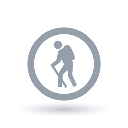 Hiker with stick icon in circle outline. Backpack hiking symbol. Hike trail sign. Vector illustration.