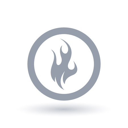 Fire icon in circle outline. Blazing flame symbol. Danger wildfire sign. Vector illustration.