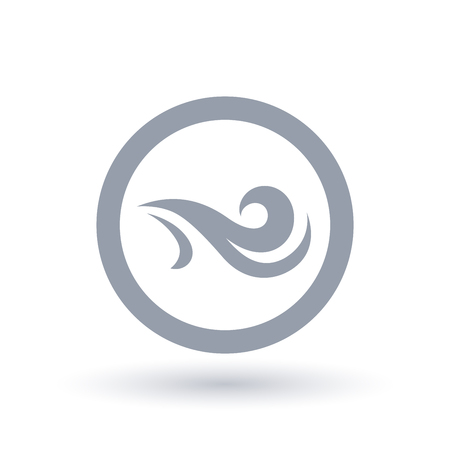 Fresh wind icon in circle outline. Air flow symbol. Wind breeze sign. Vector illustration. Vettoriali