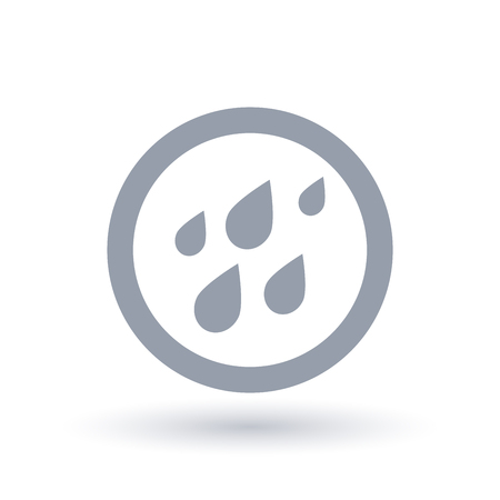 Rain water weather icon. Raining waterdrops symbol. Raindrops faling sign in circle outline. Vector illustration. Ilustração