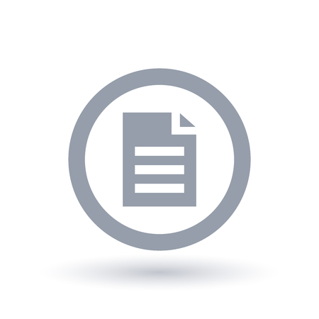 Office file icon in circle outline. Business document symbol. Paper page sign. Vector illustration. Çizim
