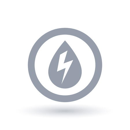 Hydro electricity icon. Water drop with energy bolt symbol in circle outline. Hydro power sign. Vector illustration.