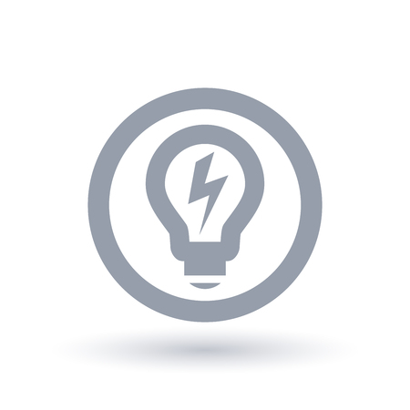 Lightbulb with power bolt flash icon in circle outline. Light energy symbol. Electricity sign. Vector illustration. Archivio Fotografico - 98884389