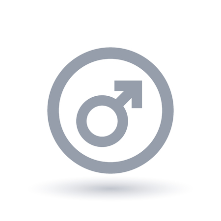 Male sign in circle outline. Masculine identity symbol. Gender icon. Vector illustration. 일러스트