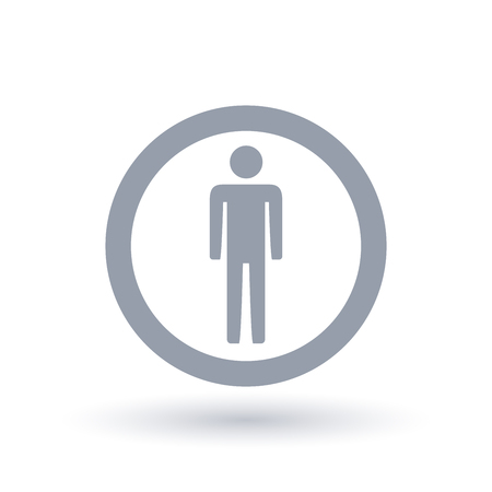 Man icon in circle outline. Male gender symbol. Mens sign. Vector illustration.