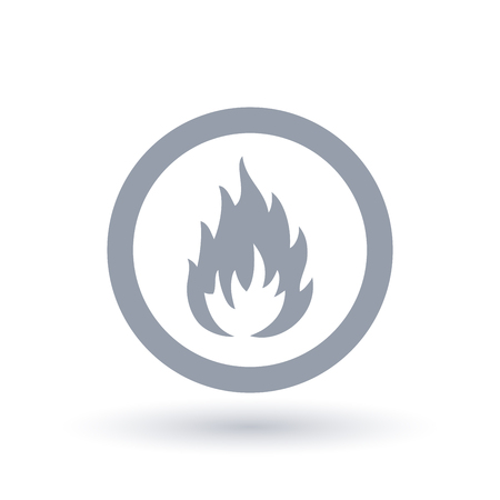 A hot flame icon inside the circle in gray color isolated in white. Illustration