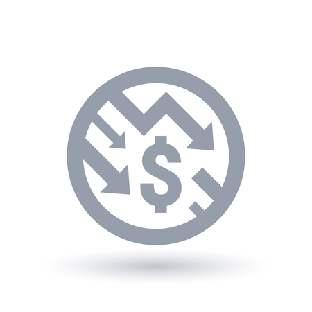 Dollar with arrows down concept icon in circle outline. Economic recession symbol. Financial market shares trade crash sign. Vector illustration. Çizim