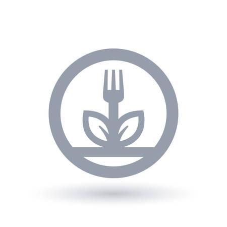Fork and leaf plant icon in circle outline. Plant diet symbol. Vegan food sign. Vector illustration.