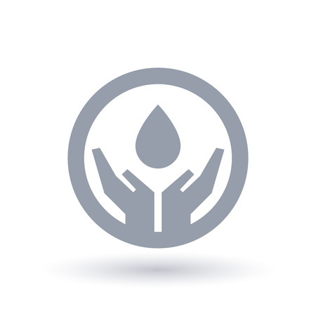 Water drop protected in hands icon. Environmental water conservation symbol. Vector illustration. Illustration