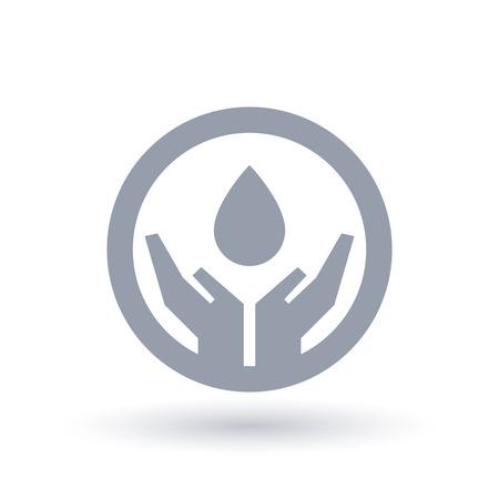 Water drop protected in hands icon. Environmental water conservation symbol. Vector illustration. Illusztráció