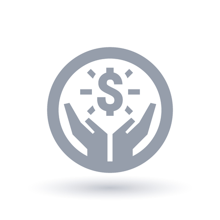 Dollar hands icon. Money success symbol. Financial wealth sign in circle outline. Vector illustration.